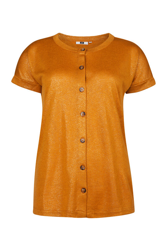 Dames knoopdetail top Mosterdgeel