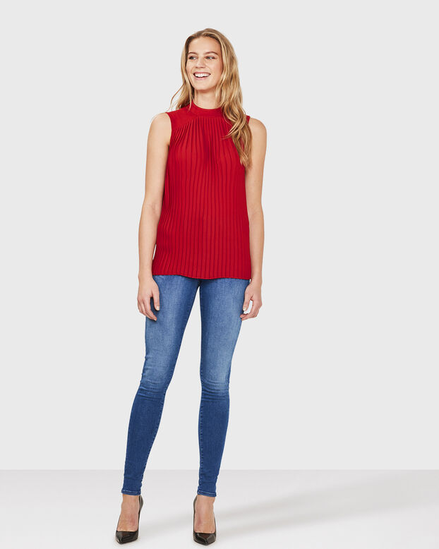 DAMES SLEEVELESS PLISSE TOP Rood
