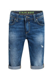 Jongens Slim Fit jog denim short_Jongens Slim Fit jog denim short, Donkerblauw