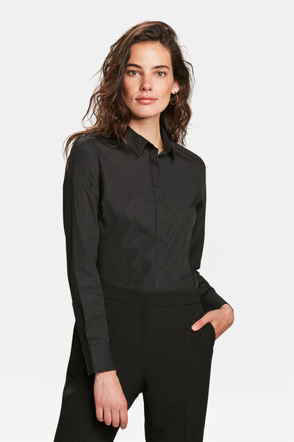 DAMES SLIM FIT POPLIN BLOUSE Zwart