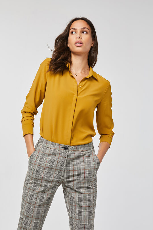 Dames slim fit blouse Mosterdgeel