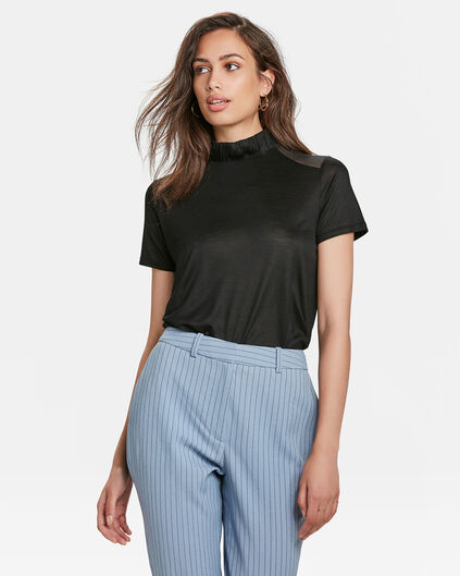 DAMES MESH DETAIL TOP Zwart