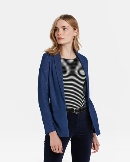 DAMES REGULAR FIT MELANGE BLAZER Blauw