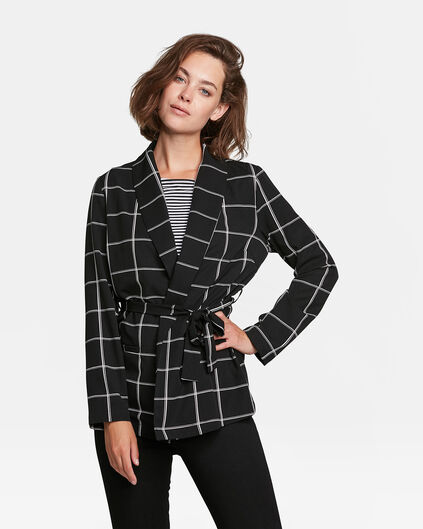 DAMES SLIM FIT CHECKED BLAZER Zwart
