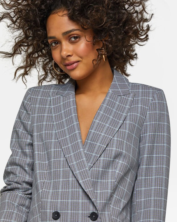 Dames loose fit double breasted blazer Grijs