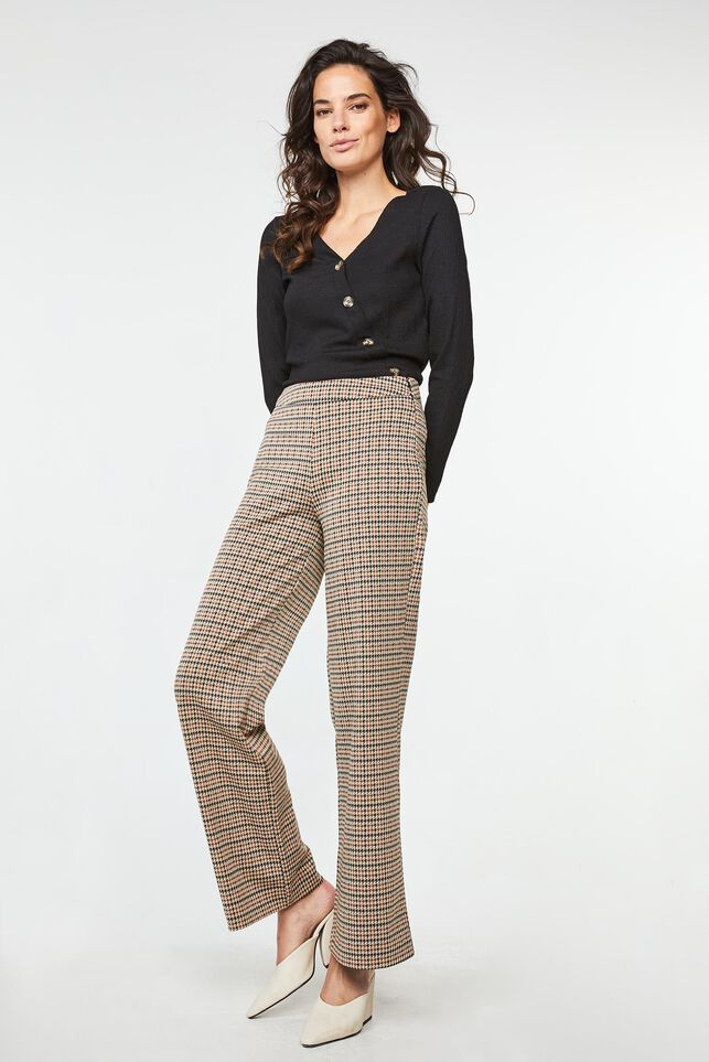 Dames high waist wide leg broek Beige