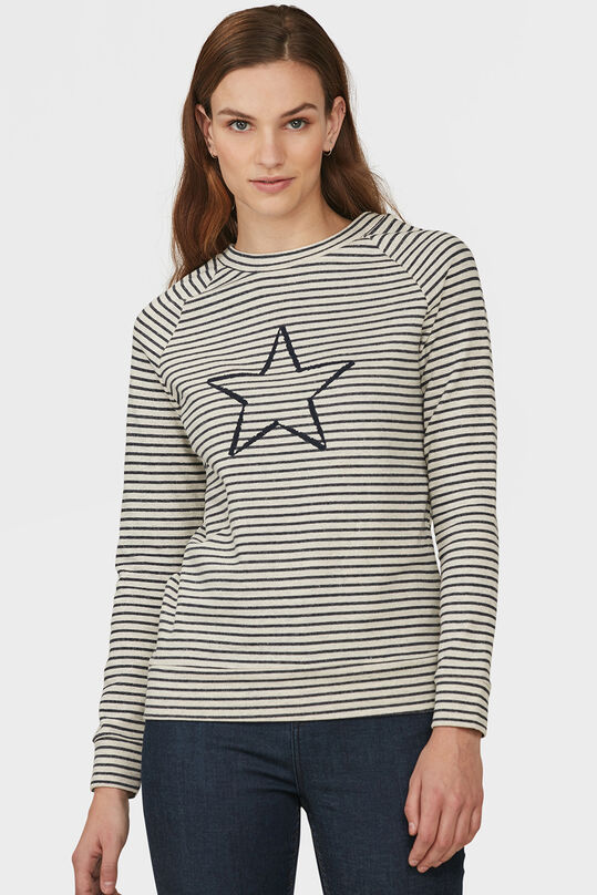 DAMES STRIPED STAR SWEATER Donkerblauw