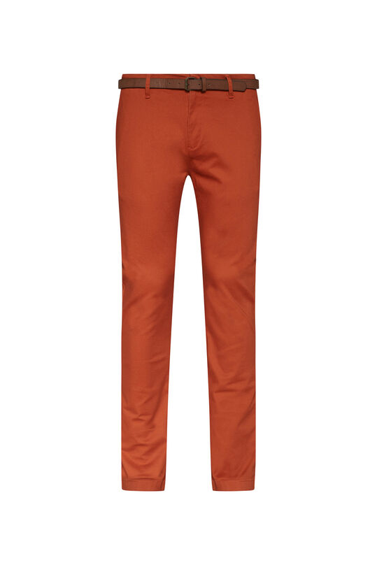 Heren skinny fit effen chino Lichtrood