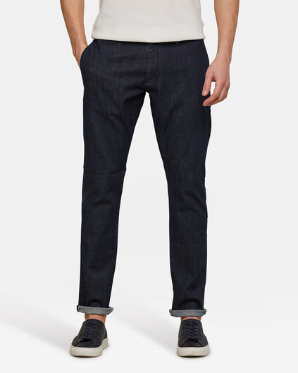 Heren slim tapered selvedge chino Donkerblauw