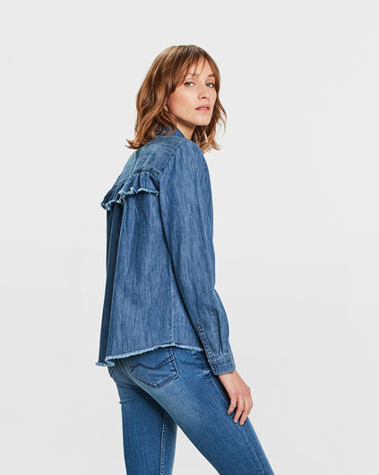 DAMES RUFFLE DENIM BLOUSE Blauw