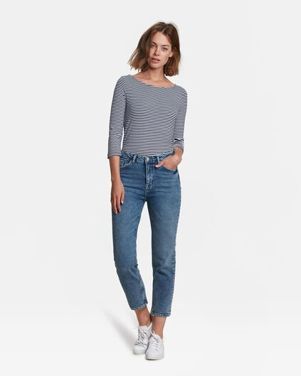 DAMES HIGH RISE STRAIGHT LEG CROPPED JEANS Blauw