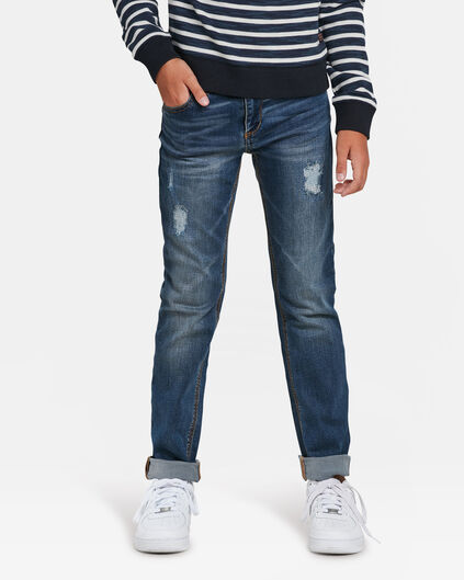 JONGENS SLIM FIT RIP EN REPAIR POWERSTRETCH JEANS Blauw