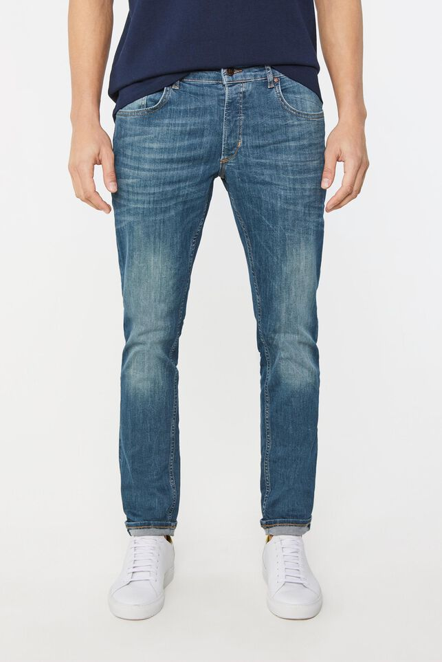 Heren slim fit super stretch jeans Blauw