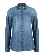 DAMES DENIM BLOUSE_DAMES DENIM BLOUSE, Blauw