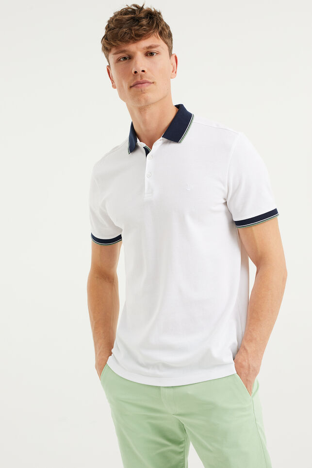 Heren slim fit polo Wit