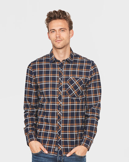 HEREN FLANNEL CHECKED OVERHEMD Bruin