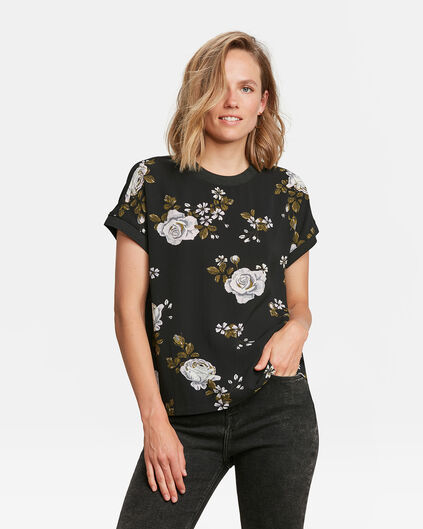 DAMES FLOWER PRINT TOP Zwart