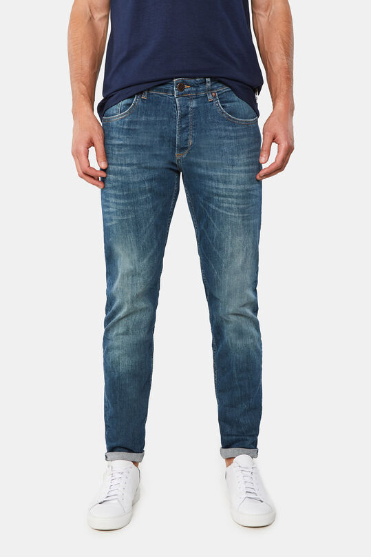 Heren skinny fit super stretch jeans Donkerblauw