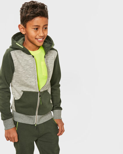JONGENS HOODED SWEATVEST Groen
