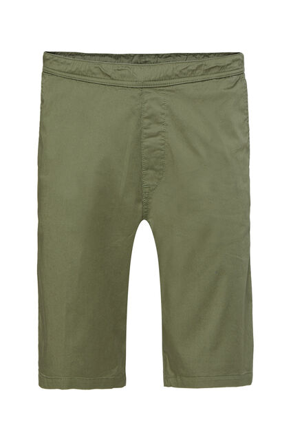 Heren regular fit chinoshort met stretch Legergroen