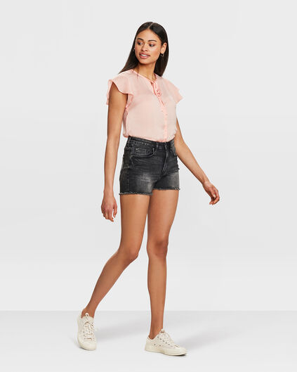 DAMES HIGH RISE SLIM FIT DENIM SHORT Zwart