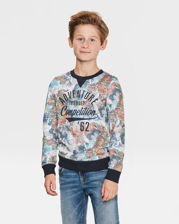 JONGENS ADVENTURE PRINT SWEATER Oranje