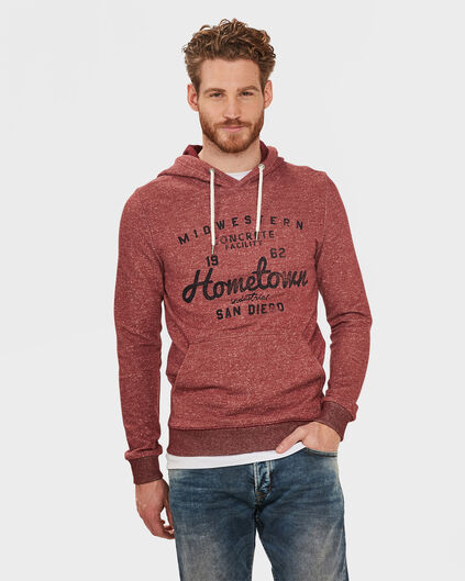 HEREN TEXT HOODED SWEATER Rood