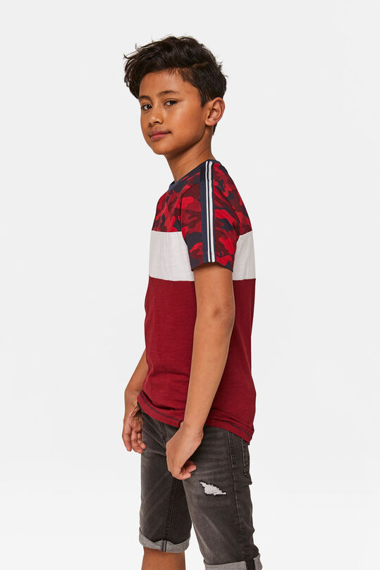 Jonges camouflage colourblocking T-shirt Rood