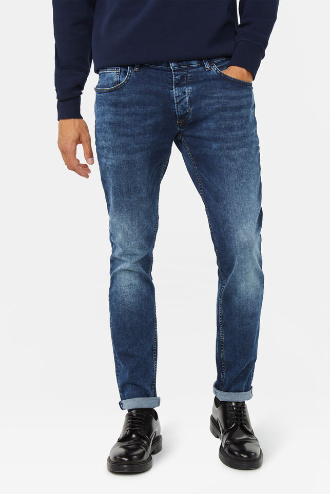 Heren slim tapered super stretch jeans Donkerblauw