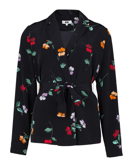 DAMES SLIM FIT BLOEMEN PRINT BLOUSE BLAZER All-over print