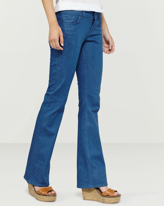 DAMES SKINNY-FIT FLARE JEANS Blauw
