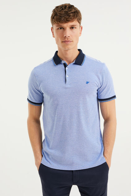 Heren slim fit polo Lichtblauw