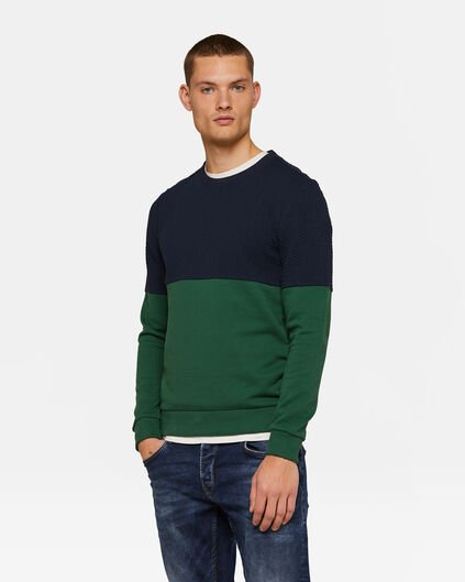 HEREN COLOURBLOCK SWEATER Donkergroen