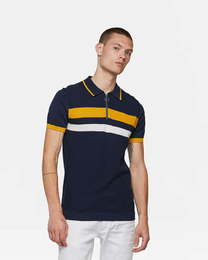 Heren knit polo Donkerblauw