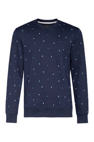 Heren grafisch dessin sweater_Heren grafisch dessin sweater, Donkerblauw