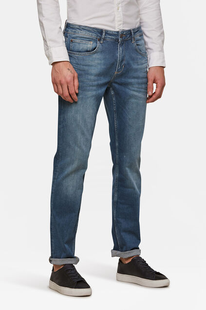 Heren regular straight super stretch jeans Blauw