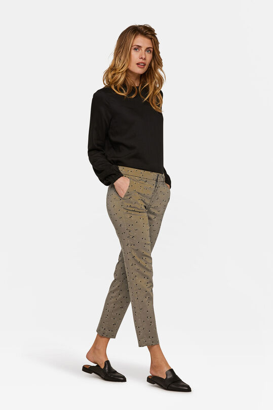 Dames slim cropped dessin chino Groen