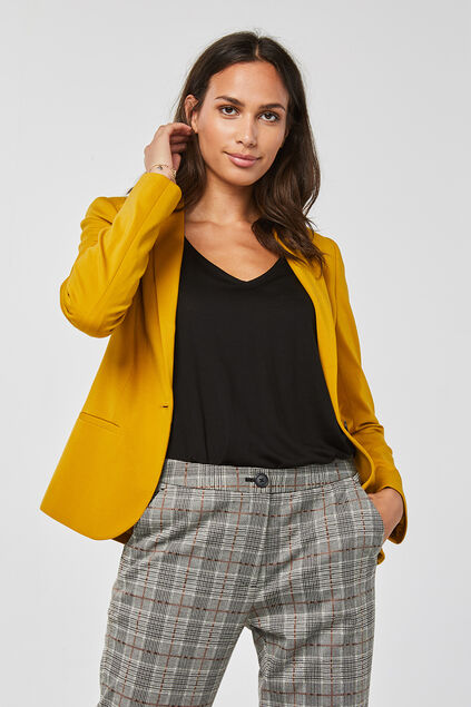 Dames regular fit blazer Geel