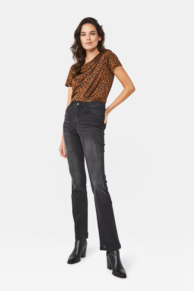 Dames high rise flared jeans Zwart