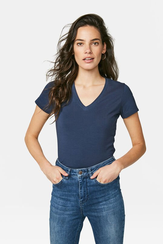 Dames organic cotton T-shirt Donkerblauw