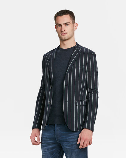 HEREN SLIM FIT GESTREEPTE BLAZER Marineblauw