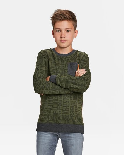 JONGENS TEKSTPRINT SWEATER Legergroen