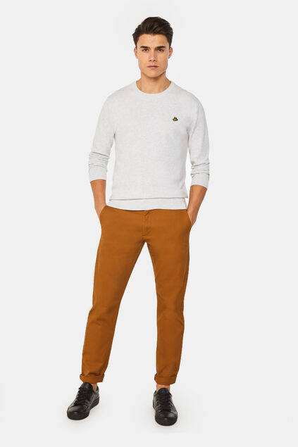 Heren slim tapered effen chino Kaneelbruin