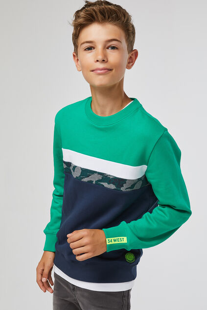Jongens colourblock sweater Groen