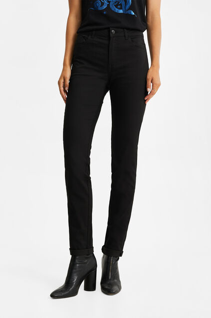 Dames mid rise skinny high stretch jeans Zwart