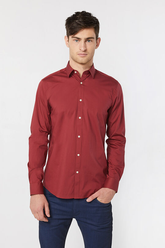 Heren slim fit stretch overhemd Saffraan rood