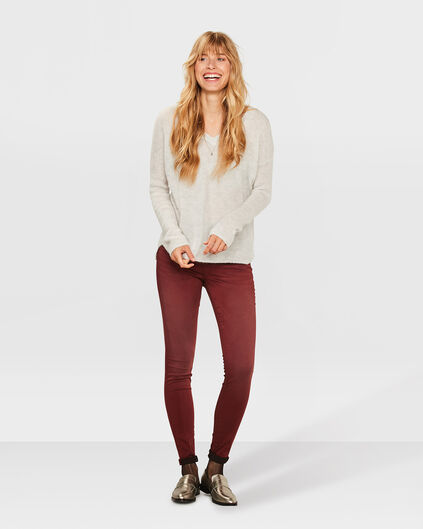 DAMES SUPER SKINNY SATEEN STRETCH BROEK Rood