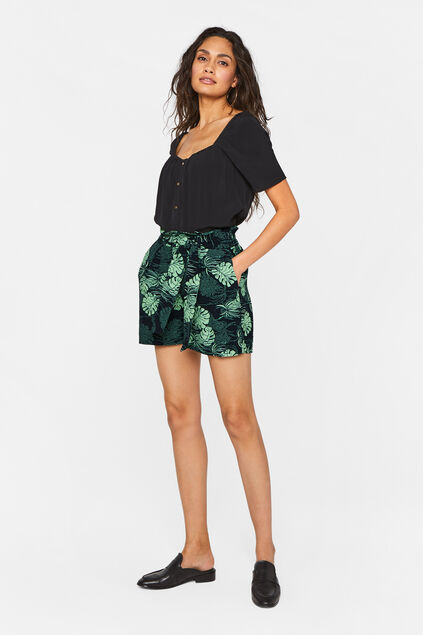 Dames high rise short met ceintuur All-over print