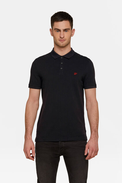 Heren organic cotton pique polo Zwart