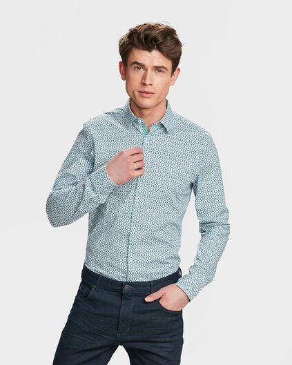 HEREN SLIM FIT STRETCH GRAFISCH DESSIN OVERHEMD Mintgroen